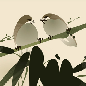 two birds on bamboo