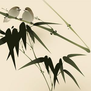 2 birds on bamboo