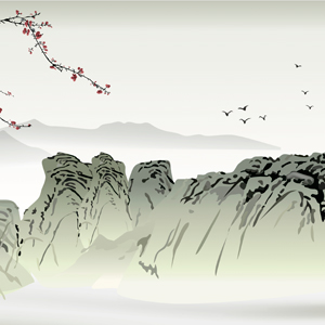 mountains, blossom & birds scene