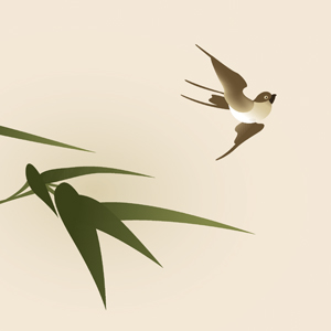 bird and bamboo leaf