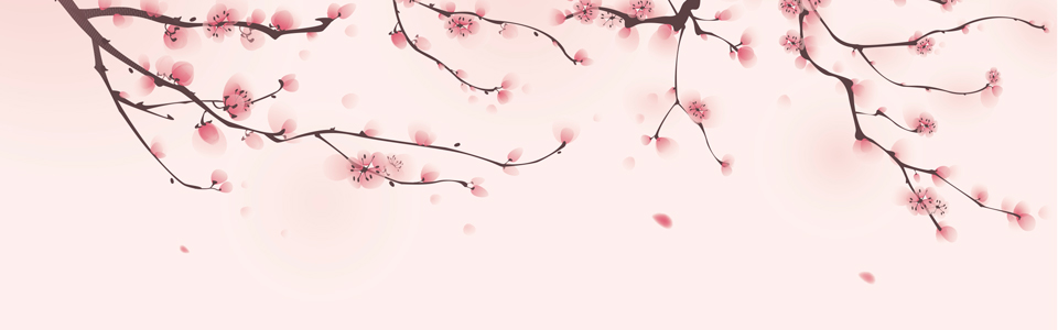 pink blossom blowing in the wind